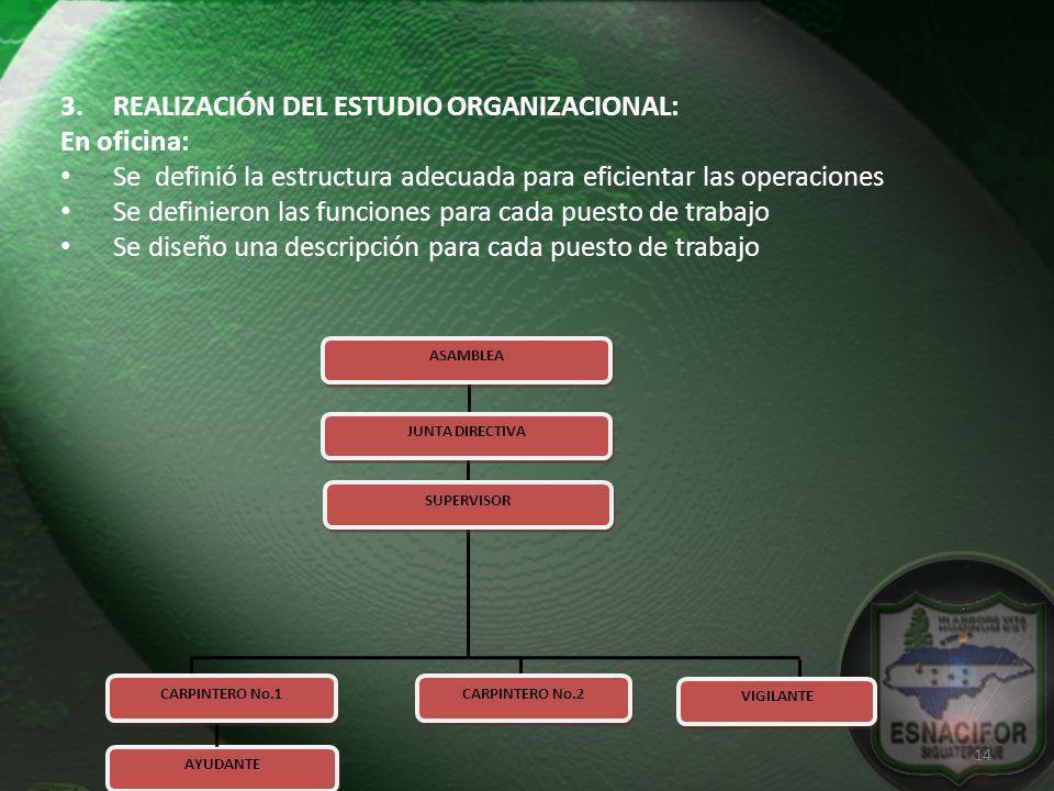 3.REALIZACIÓN DEL ESTUDIO ORGANIZACIONAL: En oficina: Se definió la estructura adecuada para eficientar las operaciones Se definieron las funciones pa