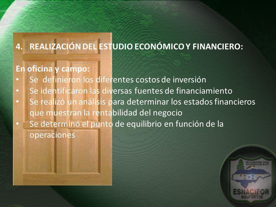 4.REALIZACIÓN DEL ESTUDIO ECONÓMICO Y FINANCIERO: En oficina y campo: Se definieron los diferentes costos de inversión Se identificaron las diversas f