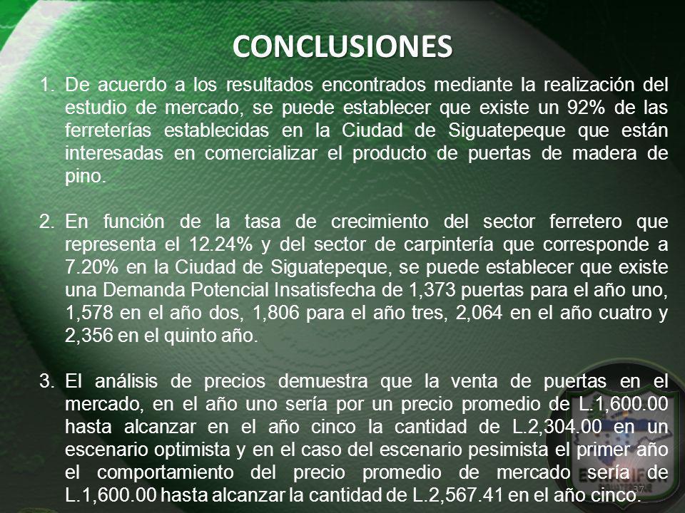 CONCLUSIONES 1.De acuerdo a los resultados encontrados mediante la realización del estudio de mercado, se puede establecer que existe un 92% de las fe