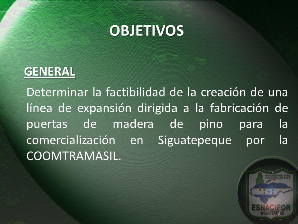 GENERAL OBJETIVOS Determinar la factibilidad de la creación de una línea de expansión dirigida a la fabricación de puertas de madera de pino para la c