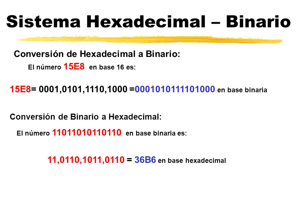 Sistema Hexadecimal – Binario El número 15E8 en base 16 es: Conversión de Hexadecimal a Binario: 15E8= 0001,0101,1110,1000 =0001010111101000 en base binaria Conversión de Binario a Hexadecimal: El número 11011010110110 en base binaria es: 11,0110,1011,0110 = 36B6 en base hexadecimal