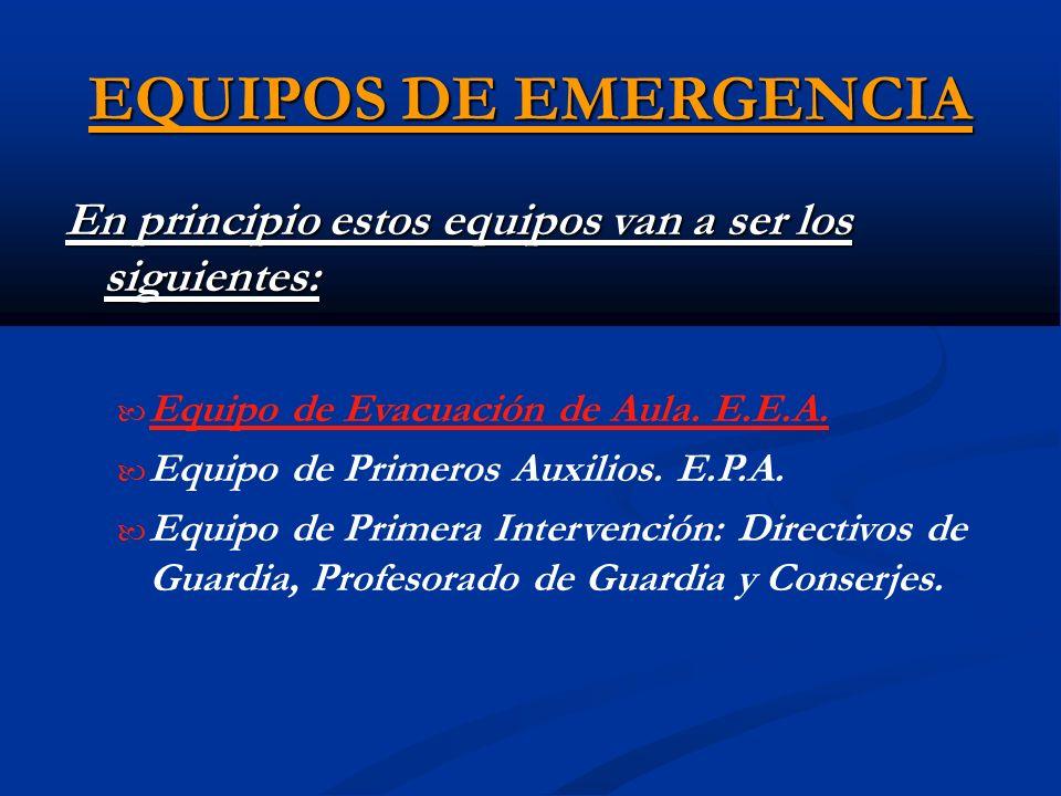 EQUIPOS DE EMERGENCIA En principio estos equipos van a ser los siguientes: Equipo de Evacuación de Aula. E.E.A. Equipo de Primeros Auxilios. E.P.A. Eq