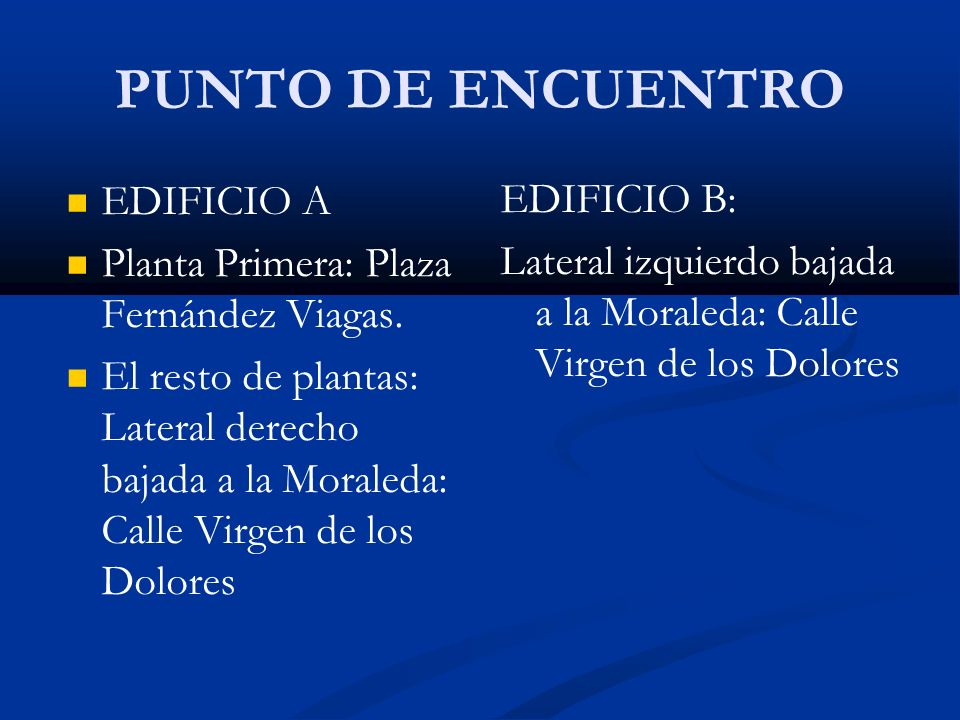 PUNTO DE ENCUENTRO EDIFICIO A Planta Primera: Plaza Fernández Viagas. El resto de plantas: Lateral derecho bajada a la Moraleda: Calle Virgen de los D