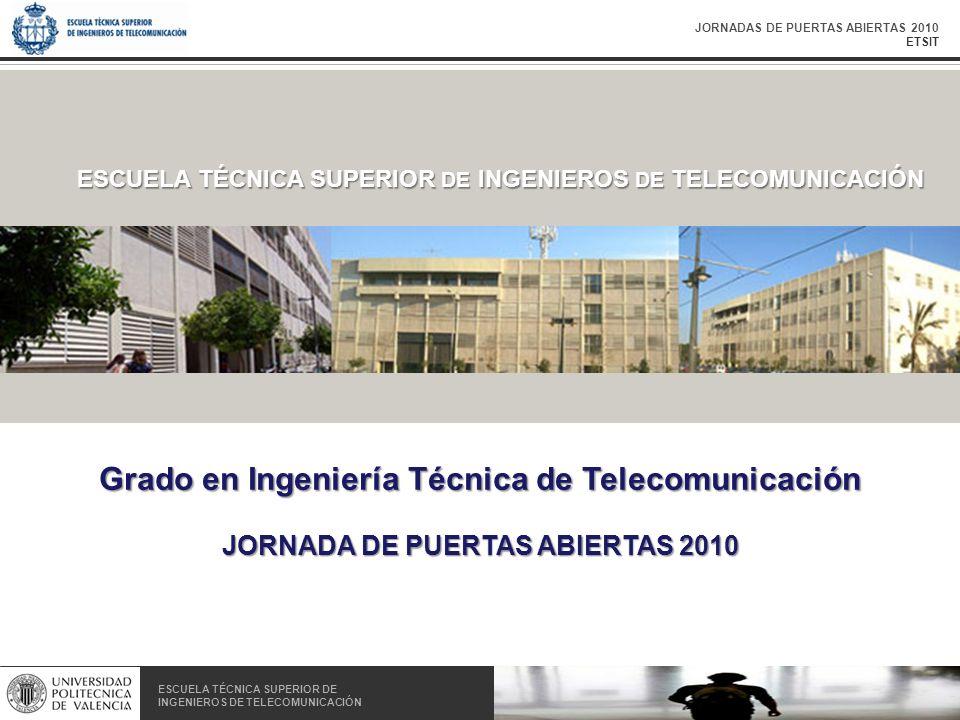 JORNADAS DE PUERTAS ABIERTAS 2010 ETSIT ESCUELA TÉCNICA SUPERIOR DE INGENIEROS DE TELECOMUNICACIÓN ESCUELA TÉCNICA SUPERIOR DE INGENIEROS DE TELECOMUNICACIÓN ESCUELA TÉCNICA SUPERIOR DE INGENIEROS DE TELECOMUNICACIÓN Grado en Ingeniería Técnica de Telecomunicación JORNADA DE PUERTAS ABIERTAS 2010