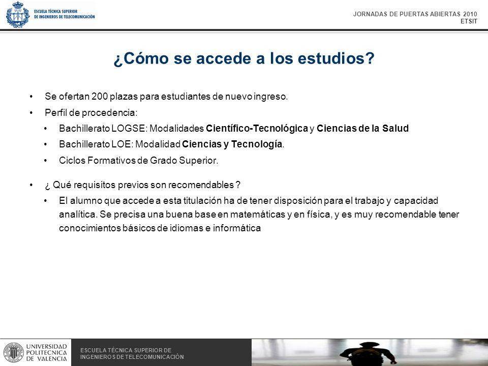 JORNADAS DE PUERTAS ABIERTAS 2010 ETSIT ESCUELA TÉCNICA SUPERIOR DE INGENIEROS DE TELECOMUNICACIÓN ESCUELA TÉCNICA SUPERIOR DE INGENIEROS DE TELECOMUNICACIÓN ¿Cómo se accede a los estudios.