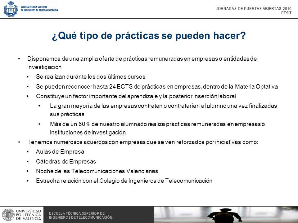 JORNADAS DE PUERTAS ABIERTAS 2010 ETSIT ESCUELA TÉCNICA SUPERIOR DE INGENIEROS DE TELECOMUNICACIÓN ESCUELA TÉCNICA SUPERIOR DE INGENIEROS DE TELECOMUNICACIÓN ¿Qué tipo de prácticas se pueden hacer.