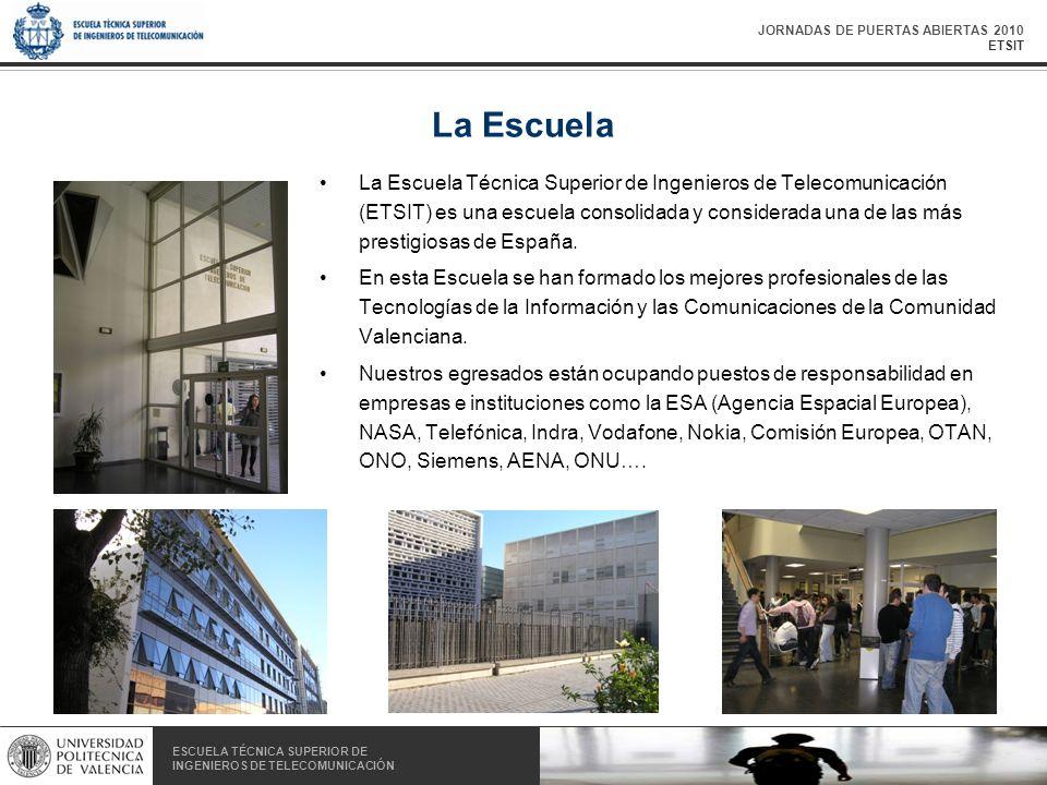 JORNADAS DE PUERTAS ABIERTAS 2010 ETSIT ESCUELA TÉCNICA SUPERIOR DE INGENIEROS DE TELECOMUNICACIÓN ESCUELA TÉCNICA SUPERIOR DE INGENIEROS DE TELECOMUNICACIÓN La Escuela La Escuela Técnica Superior de Ingenieros de Telecomunicación (ETSIT) es una escuela consolidada y considerada una de las más prestigiosas de España.