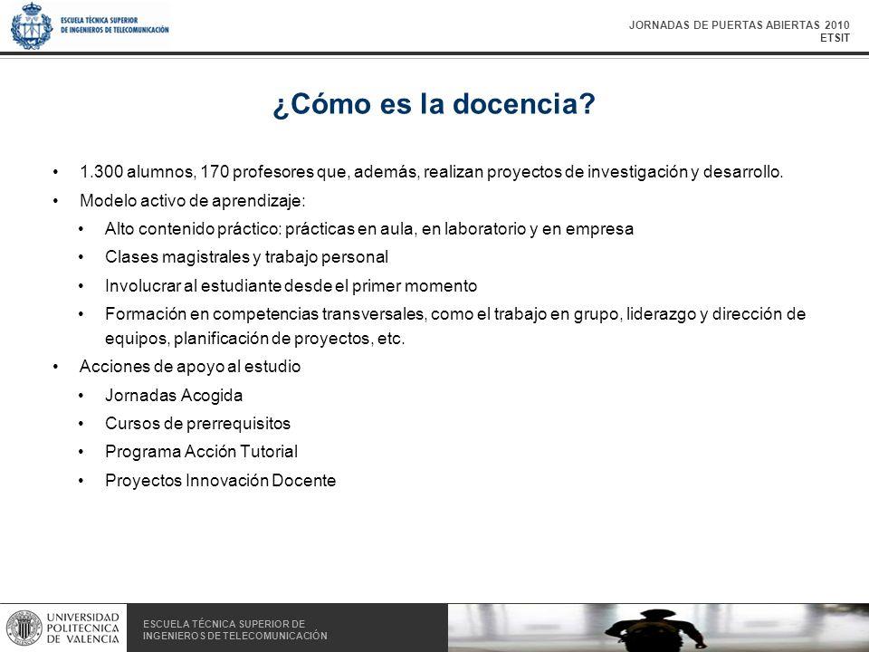 JORNADAS DE PUERTAS ABIERTAS 2010 ETSIT ESCUELA TÉCNICA SUPERIOR DE INGENIEROS DE TELECOMUNICACIÓN ESCUELA TÉCNICA SUPERIOR DE INGENIEROS DE TELECOMUNICACIÓN ¿Cómo es la docencia.