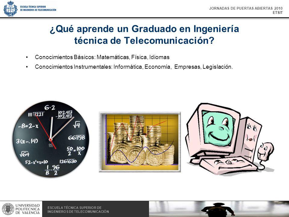JORNADAS DE PUERTAS ABIERTAS 2010 ETSIT ESCUELA TÉCNICA SUPERIOR DE INGENIEROS DE TELECOMUNICACIÓN ESCUELA TÉCNICA SUPERIOR DE INGENIEROS DE TELECOMUNICACIÓN ¿Qué aprende un Graduado en Ingeniería técnica de Telecomunicación.