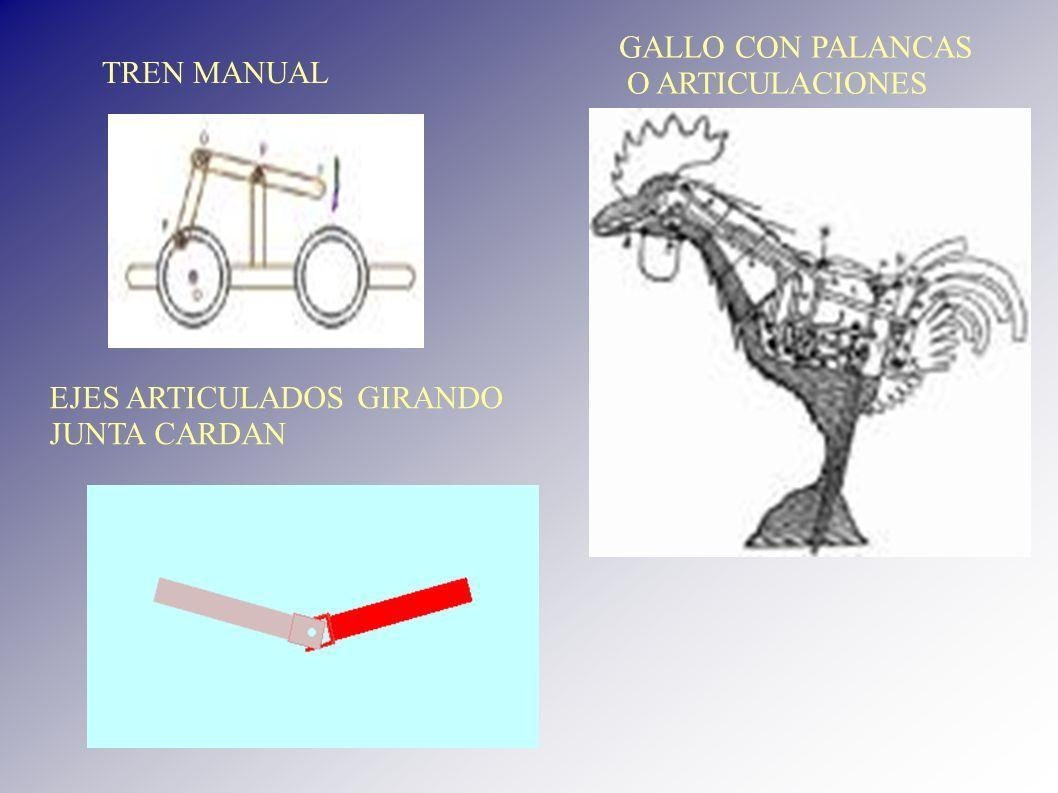 TREN MANUAL GALLO CON PALANCAS O ARTICULACIONES EJES ARTICULADOS GIRANDO JUNTA CARDAN
