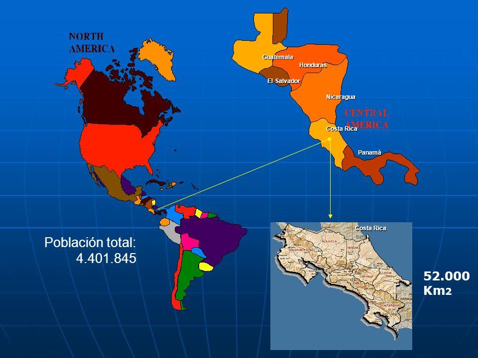 Guatemala Honduras El Salvador Nicaragua Costa Rica Panamá Población total: 4.401.845 52.000 Km 2