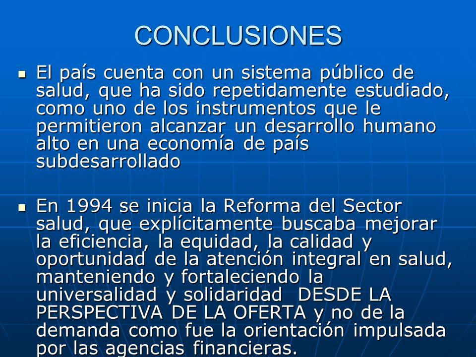 CONCLUSIONES El país cuenta con un sistema público de salud, que ha sido repetidamente estudiado, como uno de los instrumentos que le permitieron alca