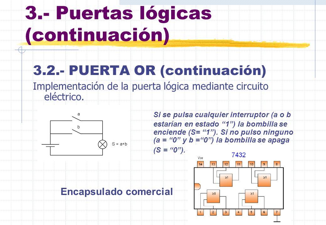 3.- Puertas lógicas (continuación) 3.2.- PUERTA OR (continuación) Implementación de la puerta lógica mediante circuito eléctrico. Si se pulsa cualquie