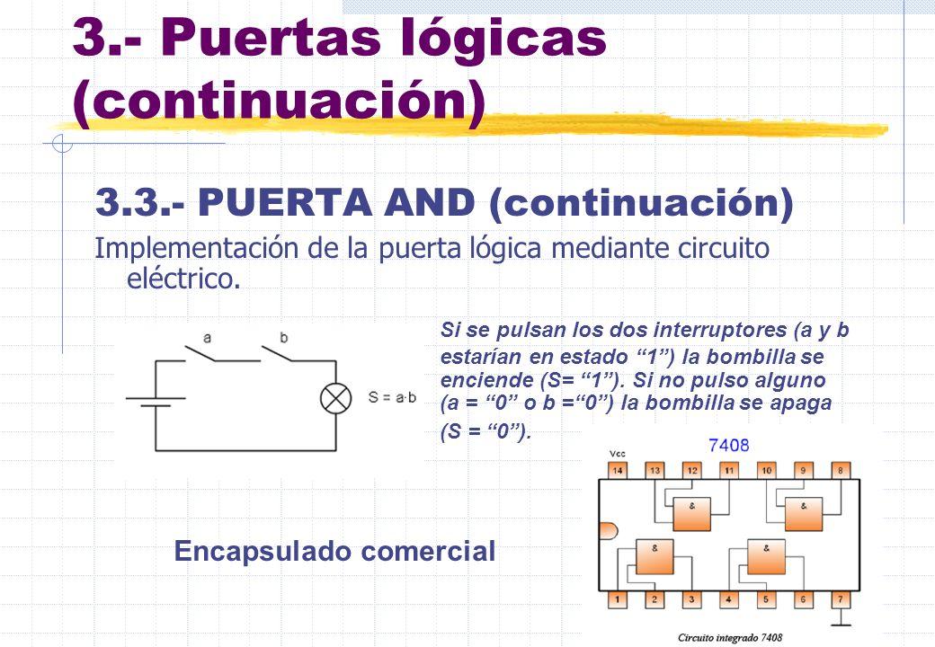 3.- Puertas lógicas (continuación) 3.3.- PUERTA AND (continuación) Implementación de la puerta lógica mediante circuito eléctrico. Si se pulsan los do