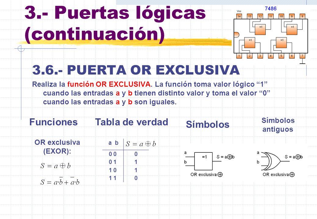 3.- Puertas lógicas (continuación) 3.6.- PUERTA OR EXCLUSIVA Realiza la función OR EXCLUSIVA. La función toma valor lógico 1 cuando las entradas a y b
