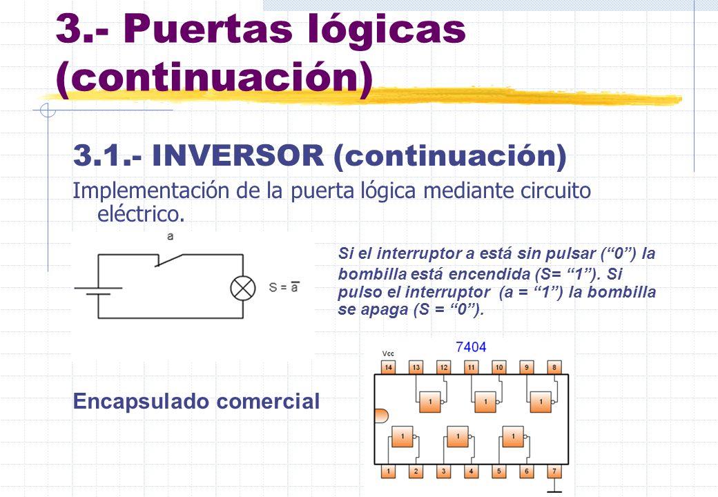3.- Puertas lógicas (continuación) 3.1.- INVERSOR (continuación) Implementación de la puerta lógica mediante circuito eléctrico. Si el interruptor a e