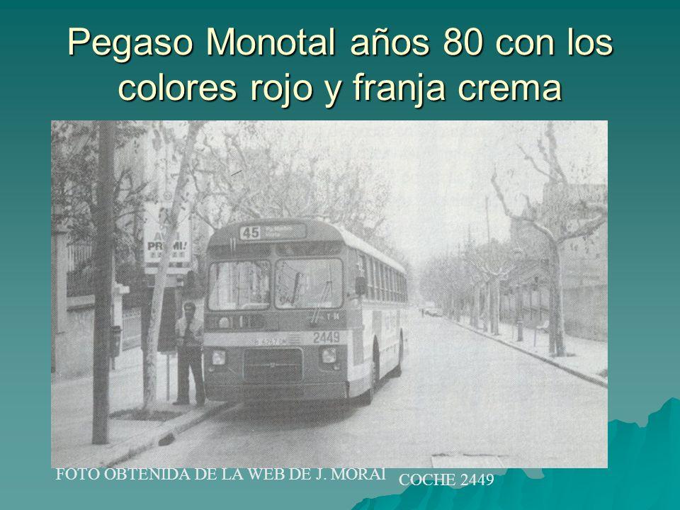 Pegaso Monotal años 80 con los colores rojo y franja crema FOTO OBTENIDA DE LA WEB DE J. MORAl COCHE 2449