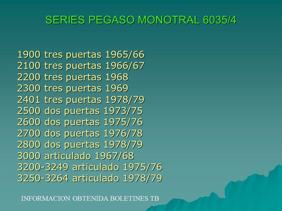 SERIES PEGASO MONOTRAL 6035/4 1900 tres puertas 1965/66 2100 tres puertas 1966/67 2200 tres puertas 1968 2300 tres puertas 1969 2401 tres puertas 1978