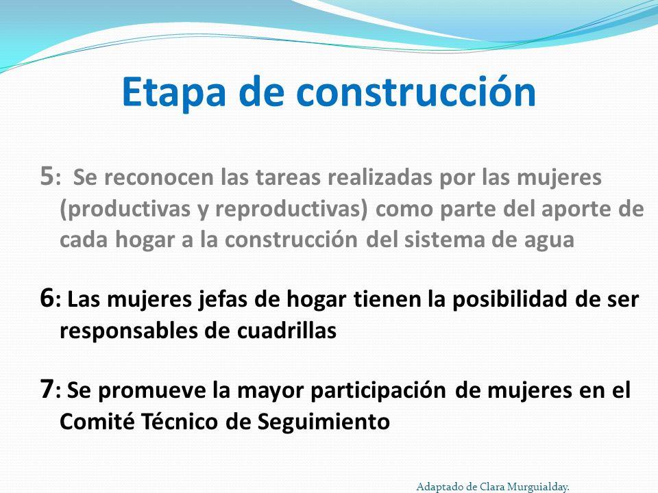Etapa de construcción 5 : Se reconocen las tareas realizadas por las mujeres (productivas y reproductivas) como parte del aporte de cada hogar a la co