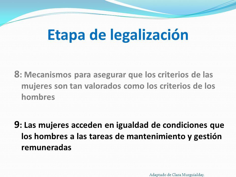 Etapa de legalización 8 : Mecanismos para asegurar que los criterios de las mujeres son tan valorados como los criterios de los hombres 9 : Las mujere