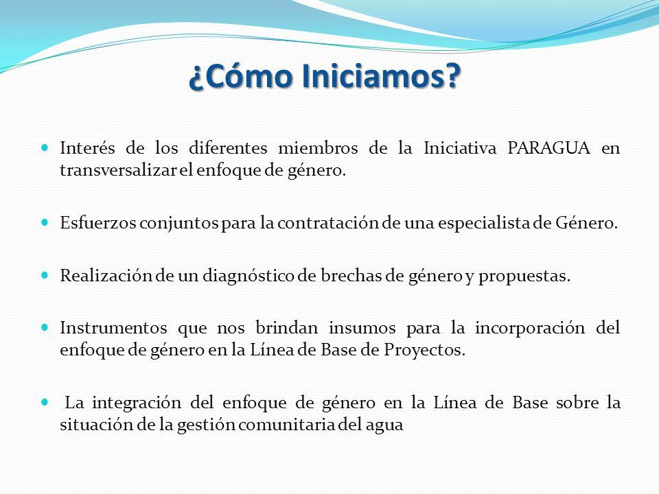 ¿Cómo Iniciamos? Interés de los diferentes miembros de la Iniciativa PARAGUA en transversalizar el enfoque de género. Esfuerzos conjuntos para la cont