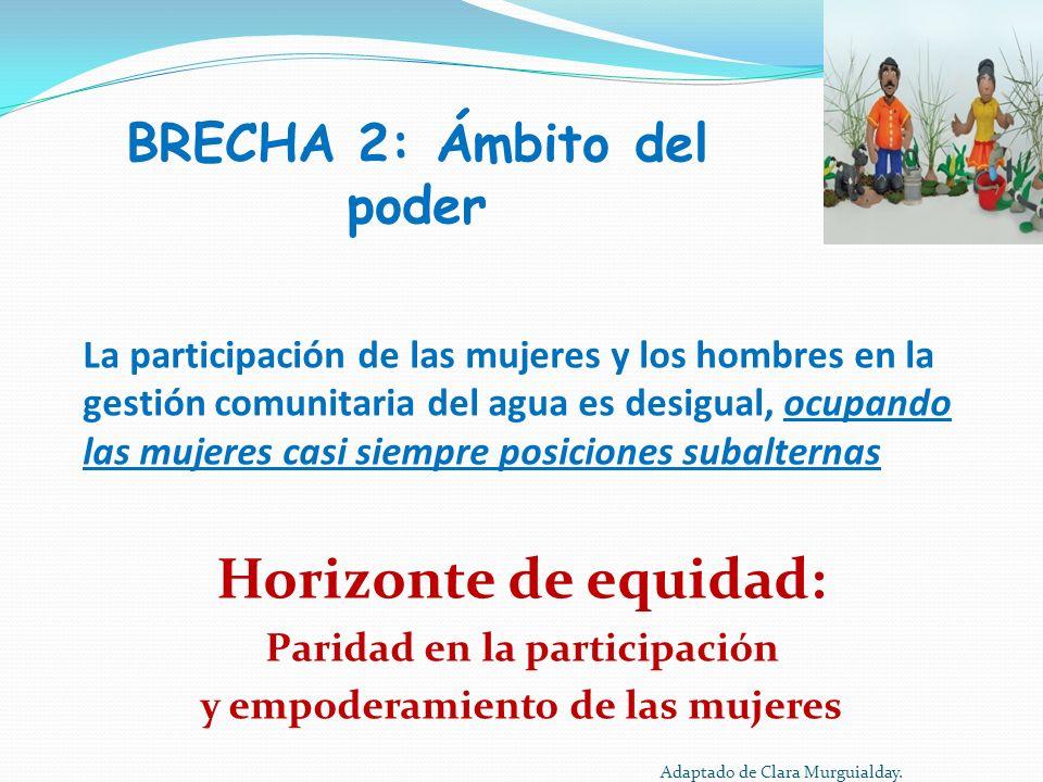 BRECHA 2: Ámbito del poder La participación de las mujeres y los hombres en la gestión comunitaria del agua es desigual, ocupando las mujeres casi sie