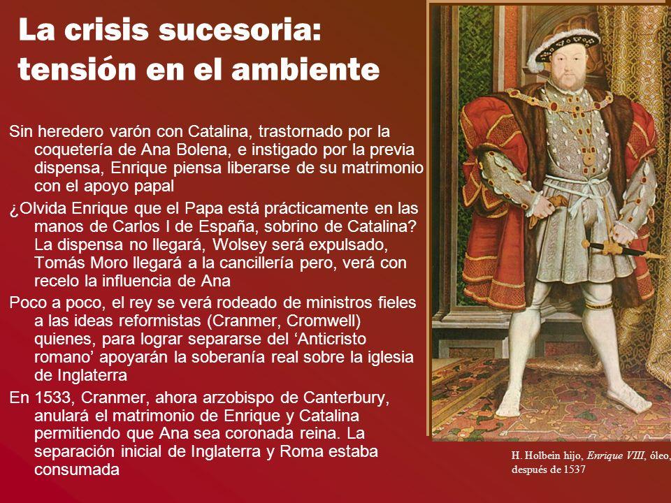 La crisis sucesoria: tensión en el ambiente Sin heredero varón con Catalina, trastornado por la coquetería de Ana Bolena, e instigado por la previa di