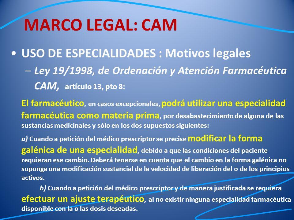 USO DE ESPECIALIDADES : Motivos legales –Ley 19/1998, de Ordenación y Atención Farmacéutica CAM, a rtículo 13, pto 8: El farmacéutico, en casos excepc