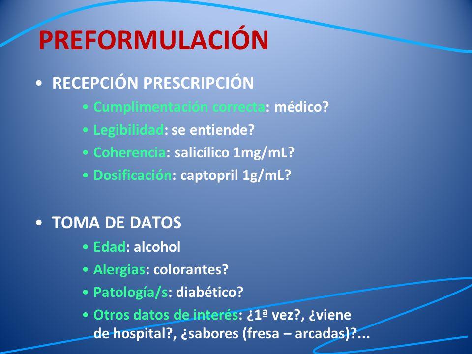 RECEPCIÓN PRESCRIPCIÓN Cumplimentación correcta: médico? Legibilidad: se entiende? Coherencia: salicílico 1mg/mL? Dosificación: captopril 1g/mL? TOMA