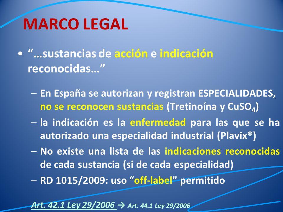 …sustancias de acción e indicación reconocidas… –En España se autorizan y registran ESPECIALIDADES, no se reconocen sustancias (Tretinoína y CuSO 4 )