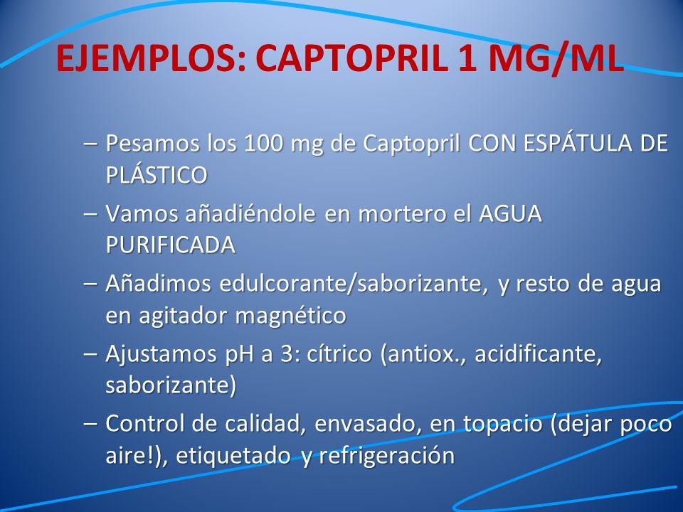 –Pesamos los 100 mg de Captopril CON ESPÁTULA DE PLÁSTICO –Vamos añadiéndole en mortero el AGUA PURIFICADA –Añadimos edulcorante/saborizante, y resto