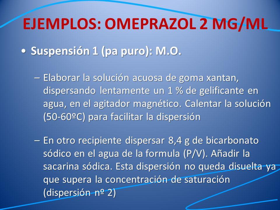 Suspensión 1 (pa puro): M.O.Suspensión 1 (pa puro): M.O. –Elaborar la solución acuosa de goma xantan, dispersando lentamente un 1 % de gelificante en