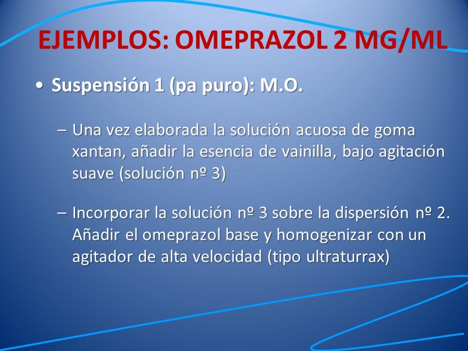 Suspensión 1 (pa puro): M.O.Suspensión 1 (pa puro): M.O. –Una vez elaborada la solución acuosa de goma xantan, añadir la esencia de vainilla, bajo agi