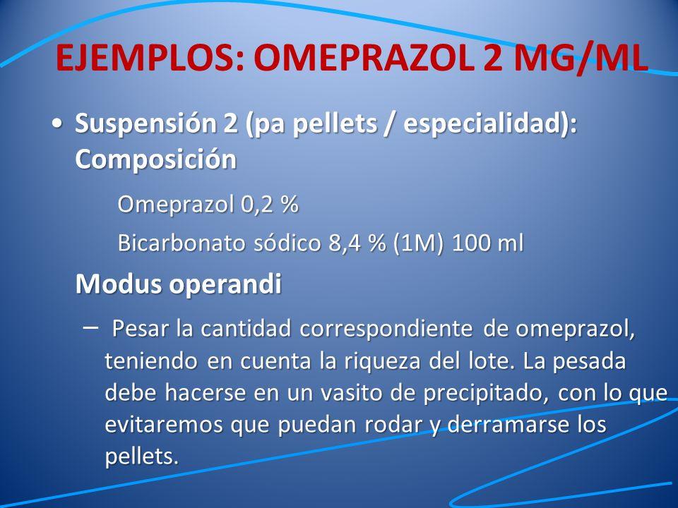 Suspensión 2 (pa pellets / especialidad): ComposiciónSuspensión 2 (pa pellets / especialidad): Composición Omeprazol 0,2 % Bicarbonato sódico 8,4 % (1