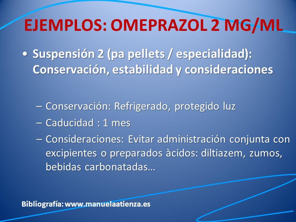 Suspensión 2 (pa pellets / especialidad): Conservación, estabilidad y consideracionesSuspensión 2 (pa pellets / especialidad): Conservación, estabilid