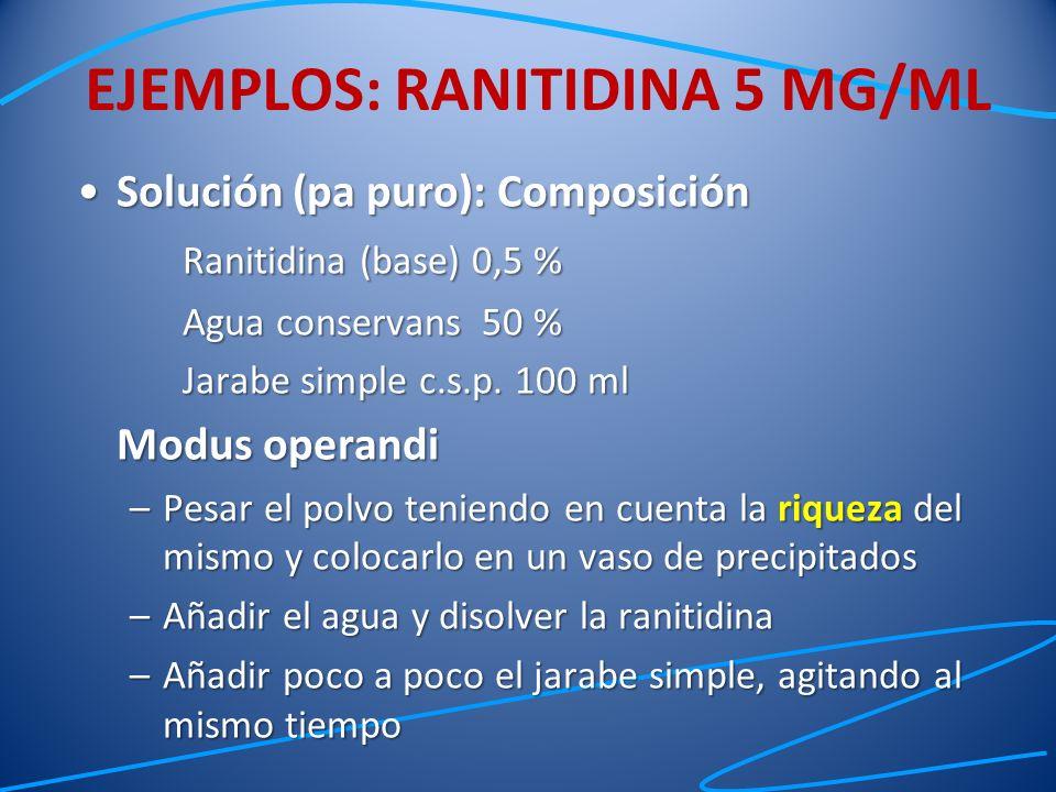 Solución (pa puro): ComposiciónSolución (pa puro): Composición Ranitidina (base) 0,5 % Agua conservans 50 % Jarabe simple c.s.p. 100 ml Modus operandi
