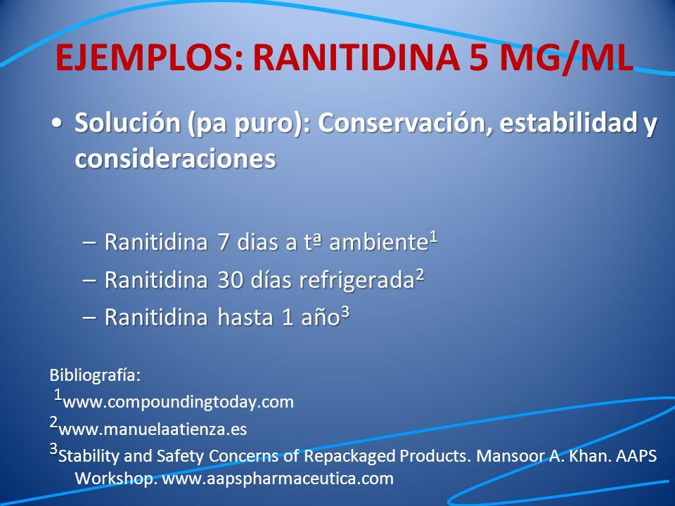 Solución (pa puro): Conservación, estabilidad y consideracionesSolución (pa puro): Conservación, estabilidad y consideraciones –Ranitidina 7 dias a tª