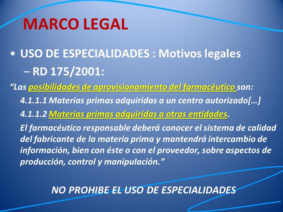 USO DE ESPECIALIDADES : Motivos legales –RD 175/2001: posibilidades de aprovisionamiento del farmacéutico Las posibilidades de aprovisionamiento del f