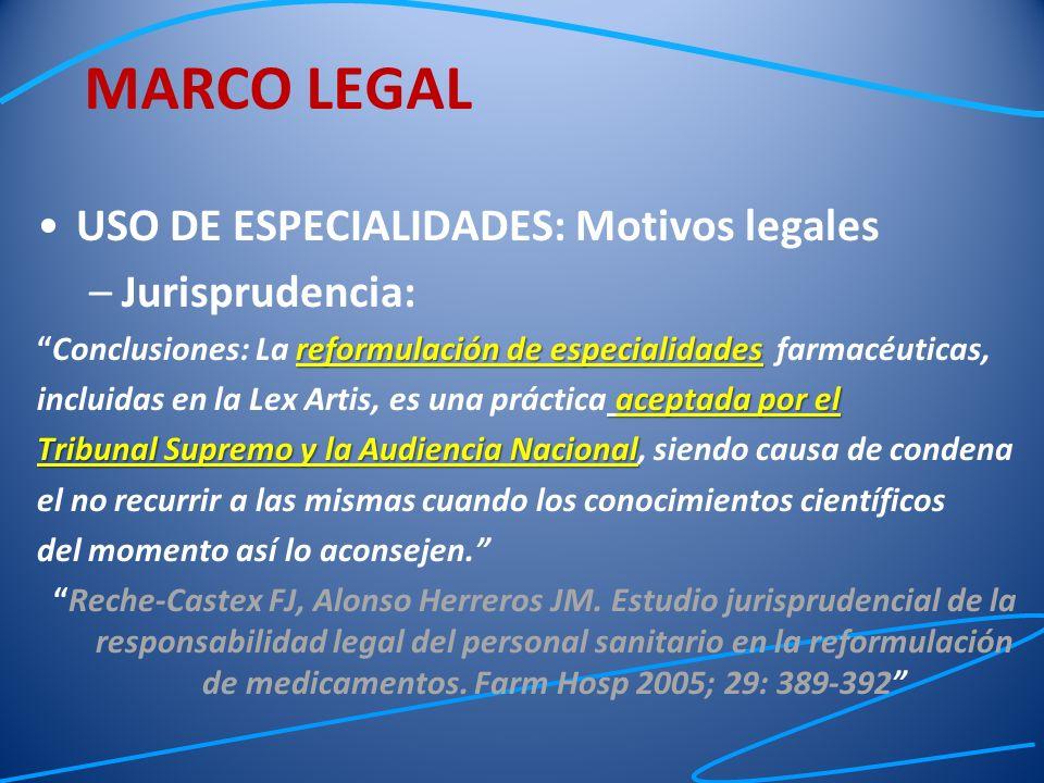 USO DE ESPECIALIDADES: Motivos legales –Jurisprudencia: reformulación de especialidadesConclusiones: La reformulación de especialidades farmacéuticas,