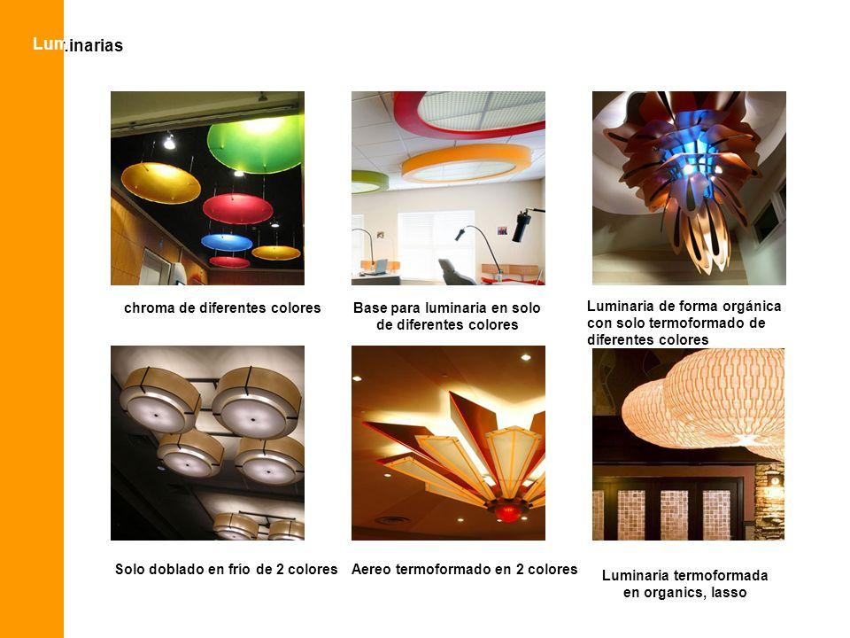 luminarias Lum chroma de diferentes coloresBase para luminaria en solo de diferentes colores Luminaria de forma orgánica con solo termoformado de dife