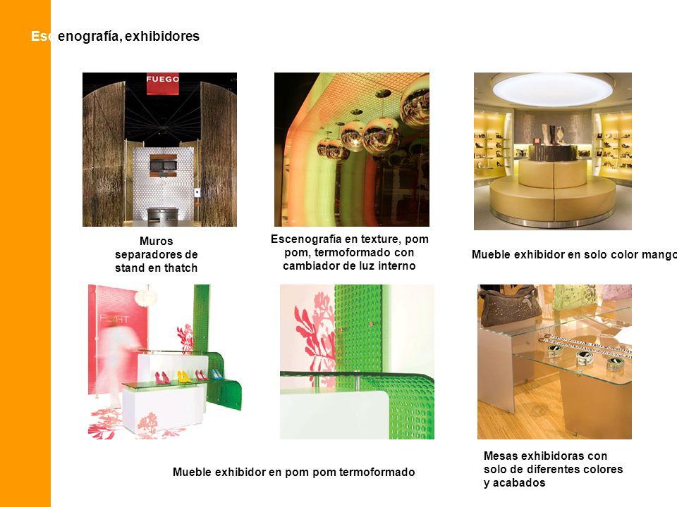 Esc enografía, exhibidoresEsc Muros separadores de stand en thatch Escenografía en texture, pom pom, termoformado con cambiador de luz interno Mueble