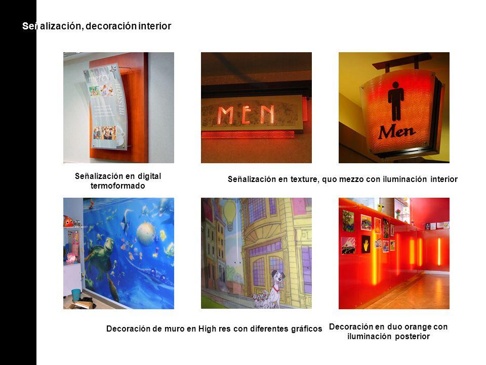 Señ alización, decoración interiorSeñ Decoración de muro en High res con diferentes gráficos Decoración en duo orange con iluminación posterior Señali