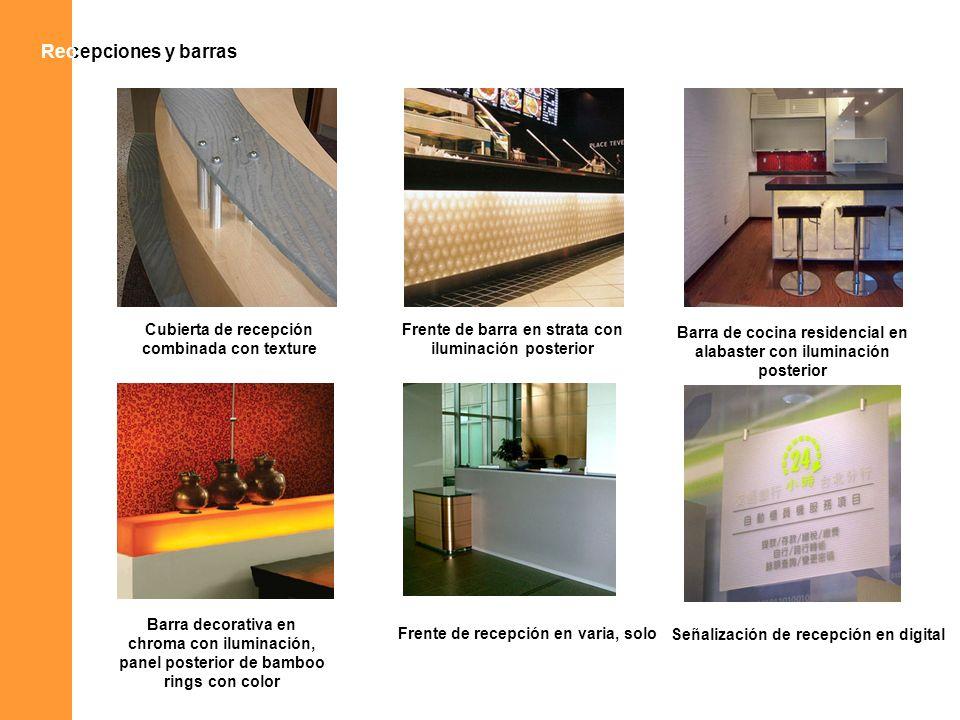 Recepciones y barrasRec Cubierta de recepción combinada con texture Frente de barra en strata con iluminación posterior Barra de cocina residencial en
