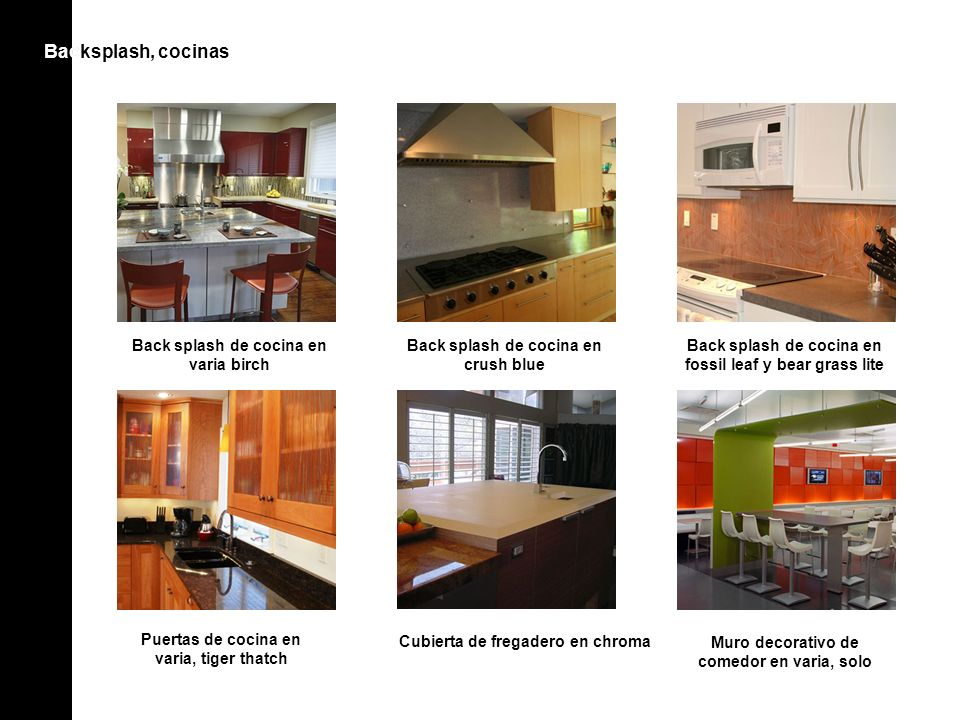 Backsplash, cocinasBac Back splash de cocina en varia birch Puertas de cocina en varia, tiger thatch Cubierta de fregadero en chroma Back splash de cocina en fossil leaf y bear grass lite Back splash de cocina en crush blue Muro decorativo de comedor en varia, solo