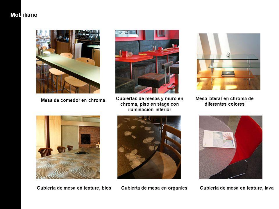 Mob iliarioMob Mesa de comedor en chroma Cubiertas de mesas y muro en chroma, piso en stage con iluminacion inferior Mesa lateral en chroma de diferen