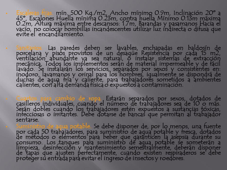 Escaleras fijas. mín. 500 Kg./m2, Ancho mínimo 0.9m, Inclinación 20º a 45º, Escalones Huella mínima 0.23m, contra huella Mínimo 0.13m máxima 0.2m, Alt