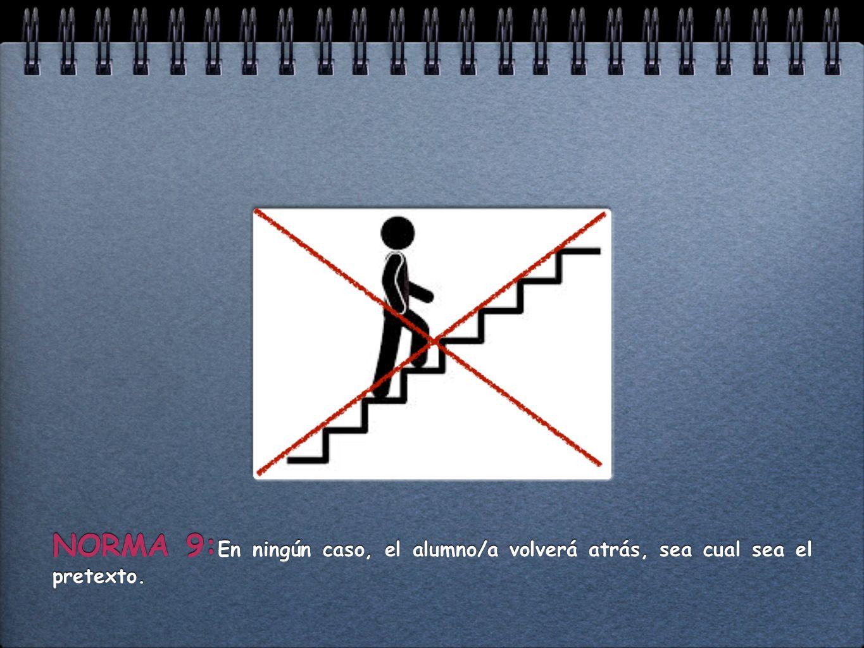 NORMA 9: En ningún caso, el alumno/a volverá atrás, sea cual sea el pretexto.