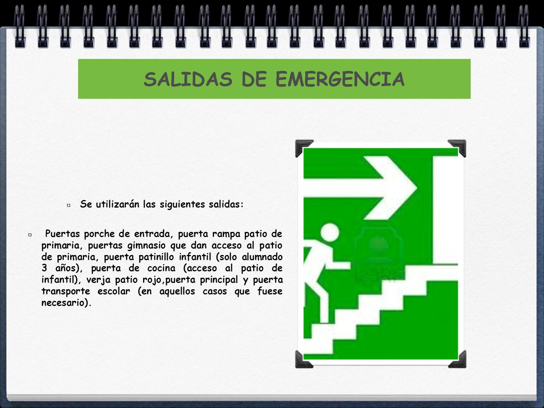 SALIDAS DE EMERGENCIA Se utilizarán las siguientes salidas: Puertas porche de entrada, puerta rampa patio de primaria, puertas gimnasio que dan acceso