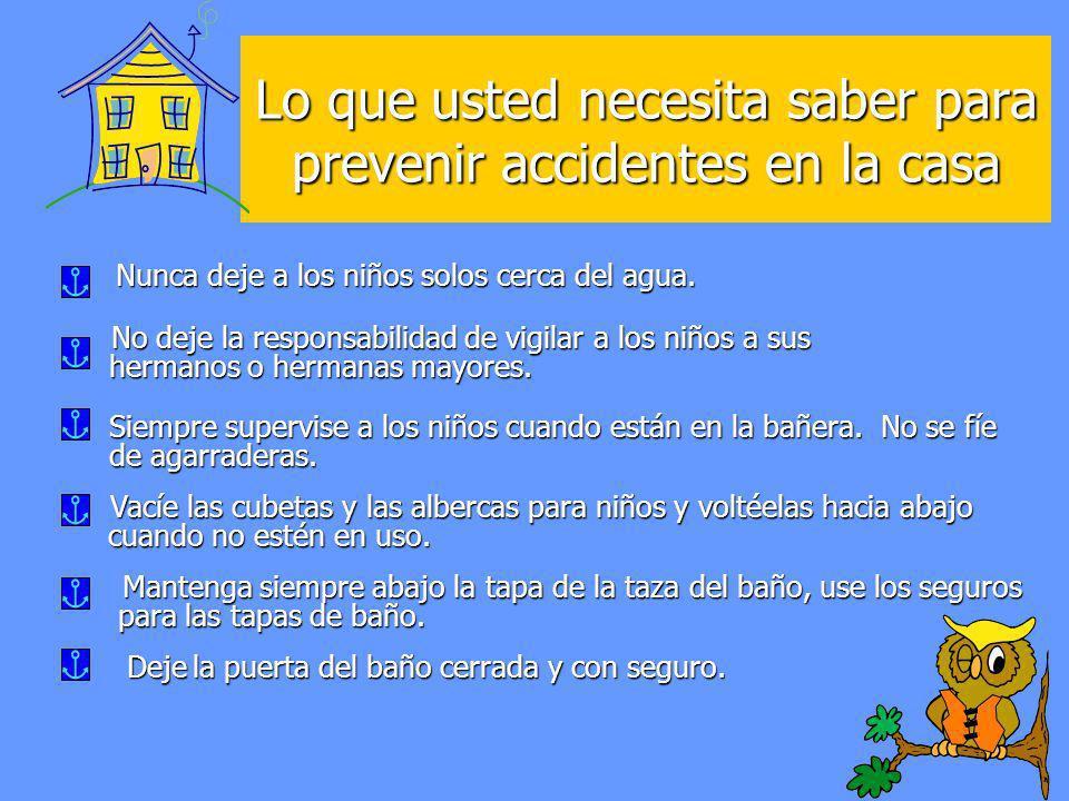 Lo que usted necesita saber para prevenir accidentes en la casa Nunca deje a los niños solos cerca del agua. Nunca deje a los niños solos cerca del ag