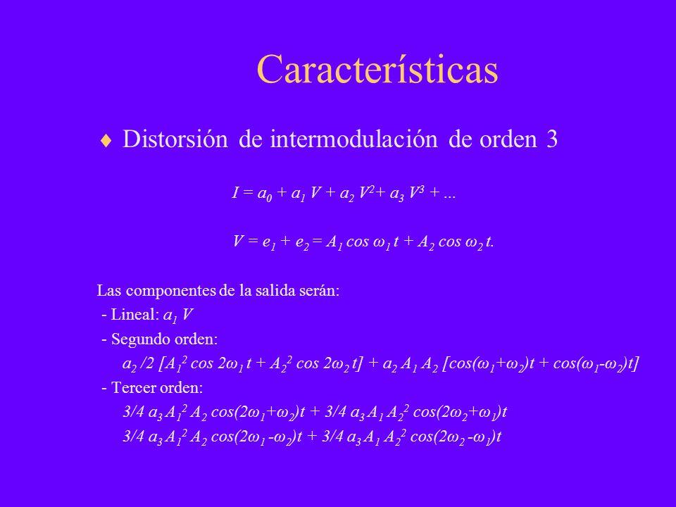 Características Distorsión de intermodulación de orden 3 I = a 0 + a 1 V + a 2 V 2 + a 3 V 3 +... V = e 1 + e 2 = A 1 cos ω 1 t + A 2 cos ω 2 t. Las c
